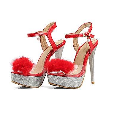 LvYuan Mujer-Tacón Stiletto-Zapatos del club-Sandalias-Oficina y Trabajo Vestido Fiesta y Noche-PU-Negro Rojo Blanco Red