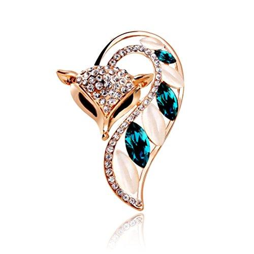 TAGOO Cute Fox Brooches Pins Scarf Clips Corsages in Crystal Rhinestone Opal for Women&Girls Banquet/Wedding/Casual Dailywear