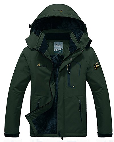 Men's Fleece Outerwear Jackets Outdoor Waterproof Coat Athletic Shell Hooded Army Green US M/Tag 2XL Ballistic Windproof Fleece