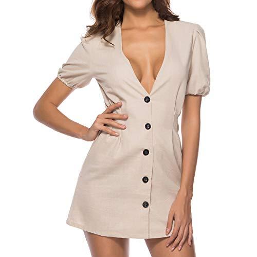 Fastbot Women's Casual Short Sleeve T Shirt Dresses Deep V-Neck Lantern Less Buttons Party Mini Vintage Dress Gray