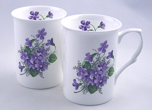 Fine English Bone China Mugs - Set of Two - Wild Violet Chintz