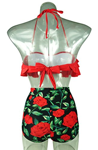 42e2300953 Cocoship Red Rose Floral   Red Retro Boho Flounce Falbala High Waist Bikini  Set Chic Swimsuit