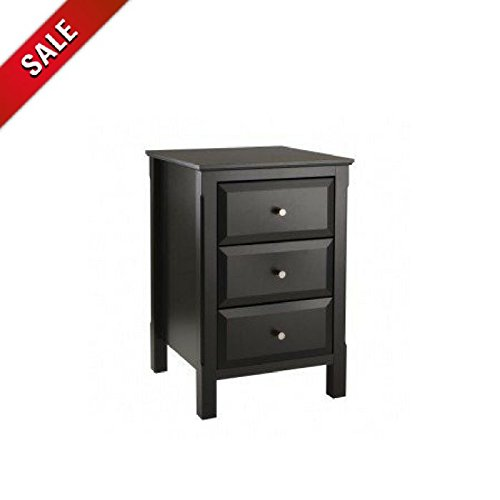 Black Nightstand Small Wooden End Side Table Bedroom Furniture Accent Three Drawer Nightstand & eBook by AllTim3Shopping