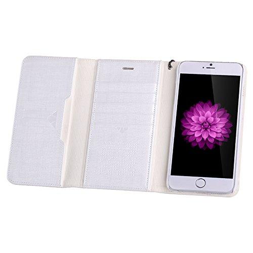 Nillkin Bazaar Purse Case Cover conque Rückdeckel Brieftasche Schutzhülle + Displayschutzfolie für Apple iPhone 6Plus 5.5, Weiß