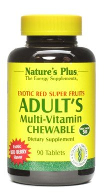 Adult's Multi-Vitamin Exotic Red Fruits Nature's Plus 90 Chewable Tablet Adult Chewable Multivitamin