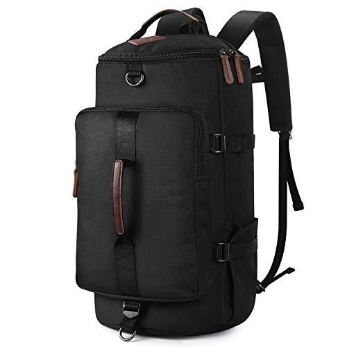 Backpack for Mens, Yousu Men's Nylon Backpack Vintage Large Capacity Water-resistant Duffel Bookbag Outdoor Traveling Multi Functional Rucksack Daypack 3-In-1 Black