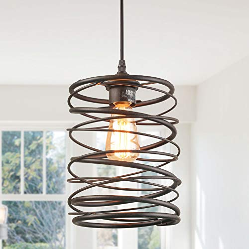 - LNC Pendant Lighting for Kitchen Island,Rustic Farmhouse Rust Cage Hanging Lamp,Brown, A03291