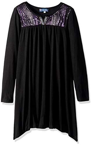 Truly Me Girls Big Tween Ombre Sequins Yoke Long Sleeve Dress