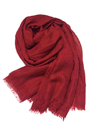 MolVee Unisex Linen Scarf Solid Color Sunscreen Shawl Large Beach Towel (Bright Red)