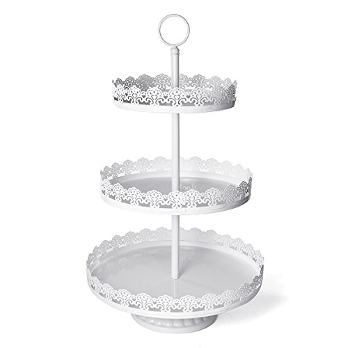 Sfeexun 3 Tier Gold Metal Dessert Cupcake Stand with Reversible Tiers, Round Cupcake Tower Display, 23