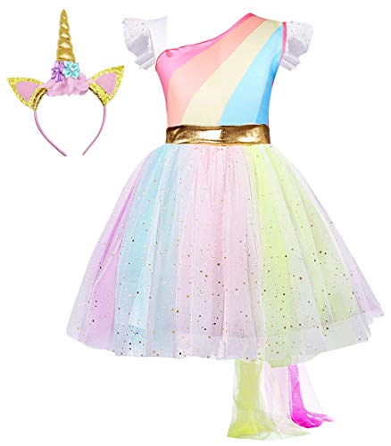 HenzWorld Girls Flower Mythical Costume Cosplay Princess Dress up Birthday Pageant Party Dance Outfits Evening Gowns Headband Size 6-7 Years -