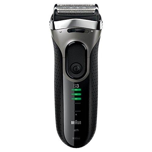 Braun Series 3 3090cc elektrischer Rasierer (Rasierapparat mit Reinigungsstation (Clean und Charge), Elektrorasierer einsetzbar als Trockenrasierer und Nassrasierer (Wet und Dry)) schwarz/grau