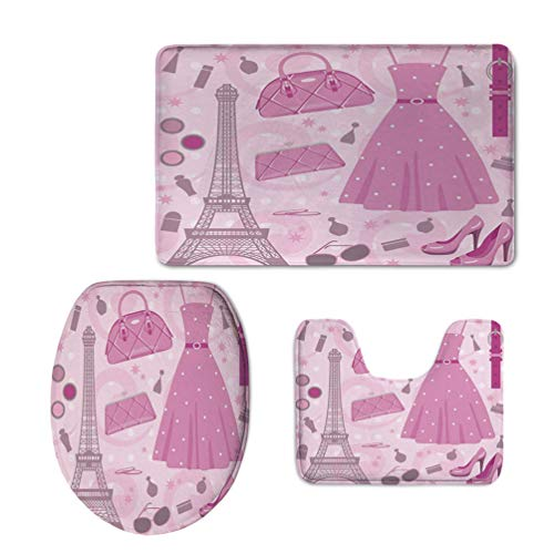 Homenon 3 Piece Soft Absorbent Bathroom Rug Set Includes Bath Mat, Contour Rug,Lid Cover,Paris Fashion Atelier French Boutique Feminine Glamor Eiffel Decorativefor Washroom & Bathroom -