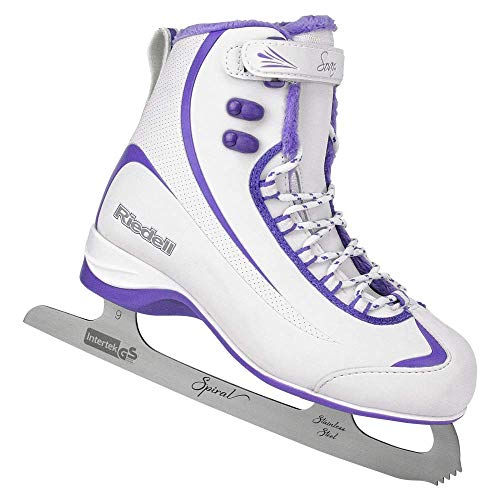 Skates Soft Ice Boot - Riedell Skates - 625 Soar - Recreational Soft Beginner Figure Ice Skates | White & Violet | Size 6
