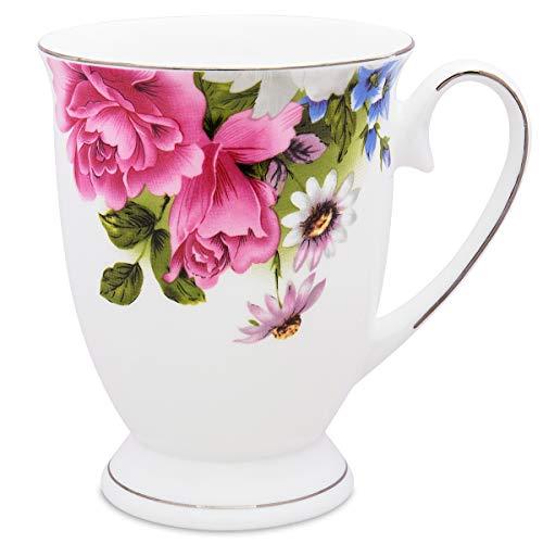 Red Flower Royal Fine Bone China Coffee Mug Cute Tea Cups -Red Flower