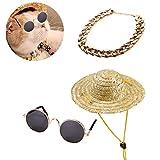 POPETPOP 3 Pack Pet Sunglasses Classic Retro Circular Sunglasses-Gold Dog Collar-Retro Straw Hatfor for Cats or Small Dogs Fashion Costume