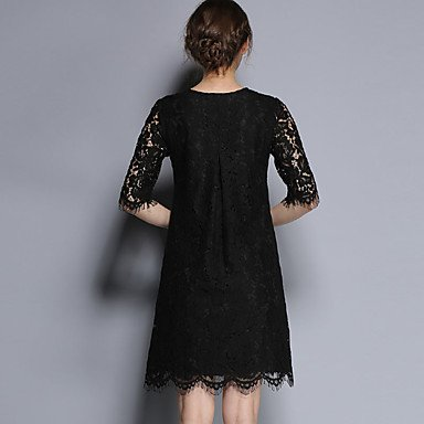 PU&PU Robe Aux femmes Trapèze / Gaine Vintage,Couleur Pleine Col Arrondi Au dessus du genou Coton / Rayonne , black , l