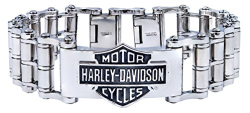Harley-Davidson Mens Bar & Shield Emblem Bike Chain Steel Bracelet HSB0146 - Jewelry Harley