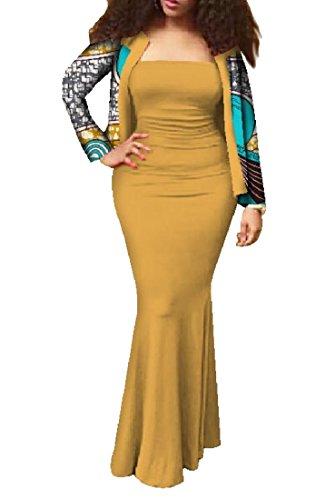 Coolred-femmes 2pcs Wrap Batik Floral Africaine Set Maxi Robe Mince Moulante 11