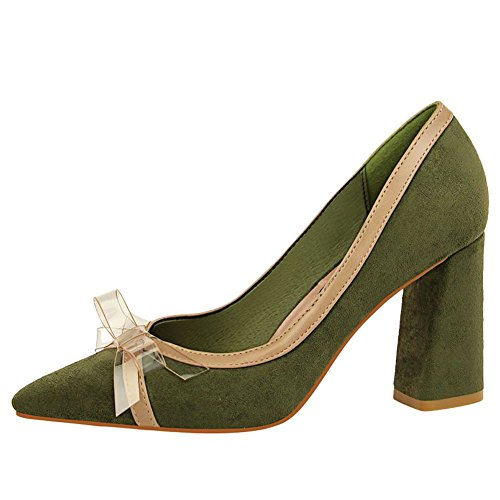 Carolbar Women's Chic Fashion Bow Block High Heel Pointed Toe Dress Shoes Green NIOETnlz