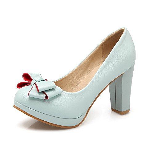 VogueZone009 Damen Ziehen auf PU Leder Rund Zehe Hoher Absatz Rein Pumps Schuhe, Weiß, 43