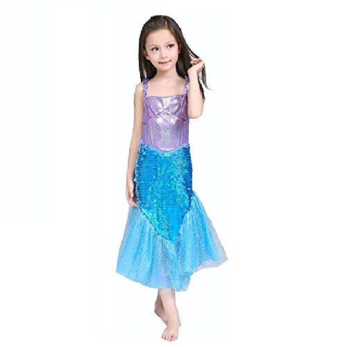 Halloween Costumes Ariel (M3 Little Mermaid Costume Disney Princess Ariel Inspired Halloween Dress For Girls (4-110))