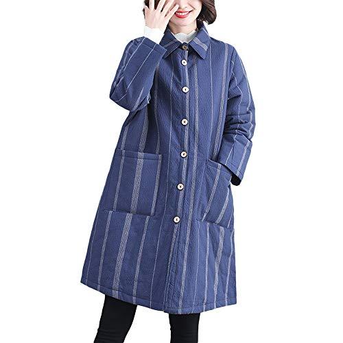 Moda Manga Elegantes Abrigos Abrigo Invierno Botón Suelto Azul pF7f8f