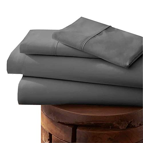 Linenwalas 800 Thread Count Sheet Set - Long Staple Natural Cotton Satin Weave for Soft and Silky Feel Deep Pockets, Breathable Set of 4 (King, Charcoal/Elephant Grey) (Cotton Pima Sheets)