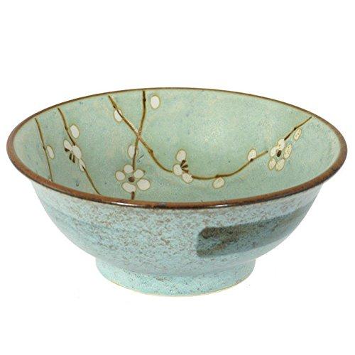 Japanese 8.25'' Grey White Spring Blossom Ume Ceramic Ramen Noodle Udon Rice Bowl by Yokohama Gifts