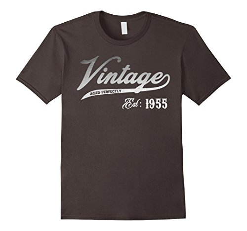 Mens Vintage Est 1955 T-shirt 63 yrs old B-day 63rd Birthday Gift Large Asphalt