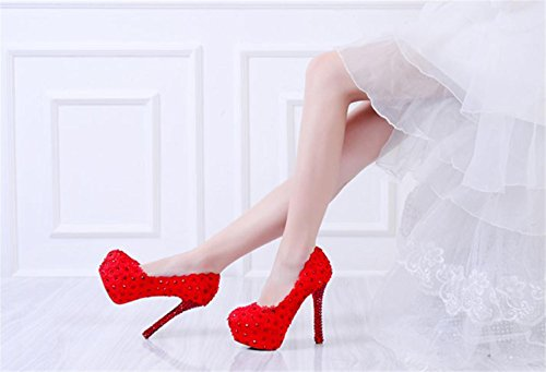 Flowers 14cm Quality Platforms Party Shoes Heel Lace MNII Bridesmaids red Bride Good Womens High Wedding Evening 35 Court 4TCx5qT