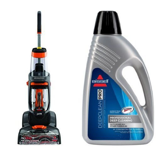 Bissell 1548 ProHeat 2X Revolution Pet Full-Size Carpet Cleaner and Bissell 78H6B Deep Clean Pro 2X Deep Cleaning Concentrated Formula, 48 ounces (48 Ounce Carpet Cleaner)