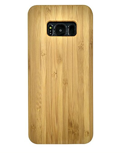 (Samsung Galaxy S8 Wood Case, CoCo Laser carving Marked Galaxy S8 Wooden Case with Durable Polycarbonate Bumper Slim Covering Case for Samsung Galaxy S8 2017 Released (Bamboo))