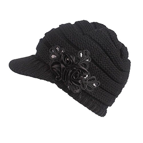 Elogoog Women Winter Beanie Knit Hat Warm Wool Snow Ski Caps Berets with Visor (Black (Sequins Flower))