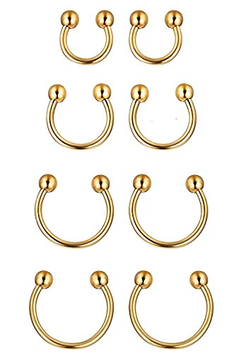 Sobly 6-8 Pcs a Set 316L Stainless Steel 16G Nose Piercing Septum Lip Nipple Eyebrow Rings Hoop Horseshoe Ear Piercings 6-12mm (Gold) ()