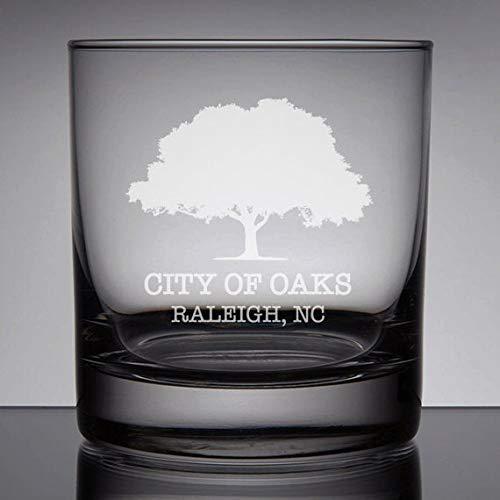 Raleigh North Carolina Whiskey Glass, City of Oaks, Etched Rocks Glass, Rocks Whiskey Glass 11 oz, Engraved Bourbon Glass, North Carolina Gift, Custom City -