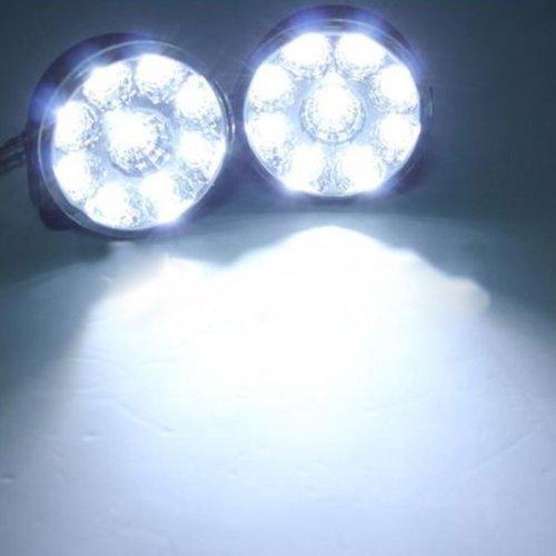 BLOOMWIN Auto Led Phare, 2Pcs Lampe Eclairage Lumière Feux Antibroillard 12V 9W 800LM 67MM Ampoule Ronde Longue Portée Feux