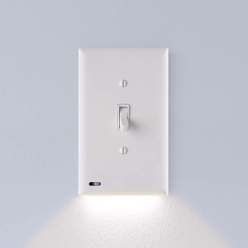 3 Pack - SnapPower SwitchLight - LED Night Light - for Single-Pole Light Switches - Light Switch Plate with LED Night Lights - Adjust Brightness - Auto On/Off Sensor - (Toggle, White)
