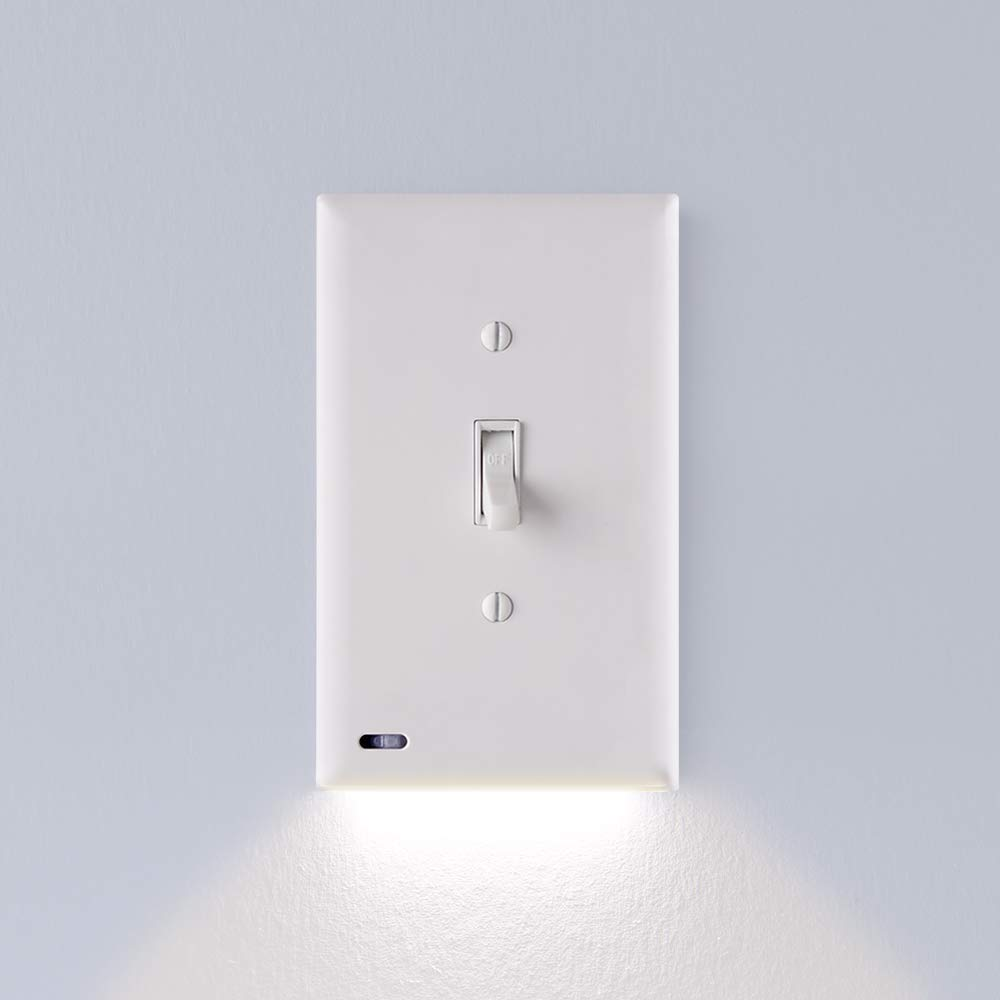1 Pack - SnapPower SwitchLight - LED Night Light - For Light Switches - Light Switch Wall Plate With Built-In LED Night Lights - Bright/Dim/Off Options - Automatically On/Off Sensor - (Toggle, White) by SnapPower