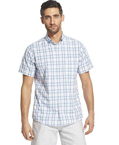 - IZOD Men's Breeze Short Sleeve Button Down Plaid Shirt, Blue Radiance, Large