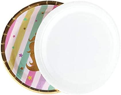 6 Unids/Set Rainbow Gold Unicorn Plato Platos Para Niños ...