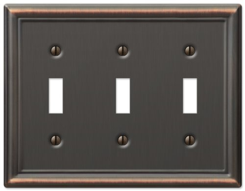 - Amerelle Chelsea Triple Toggle Steel Wallplate in Aged Bronze