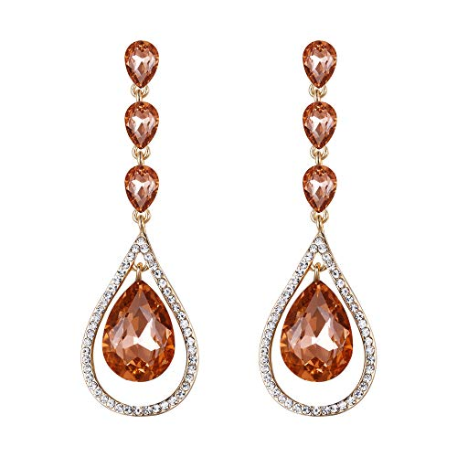 EVER FAITH Rhinestone Crystal Bridal Hollow-out Teardrop Pierced Earrings Champagne Color Gold-Tone ()