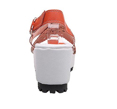 GMBLB013385 Unie Femme Ouverture Orange Talon AgooLar à Couleur Tire d'orteil Sandales Haut vwqAF