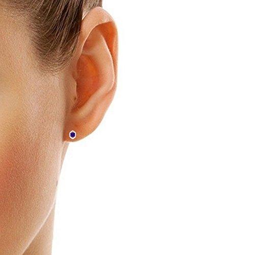 Libertini Boucle d'oreille argent 925 serti de Diamant et Améthyste en fArgentme de Hexagone