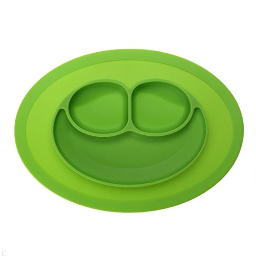 URSMART Mini Size Smile Baby Rice Plate Silicone Food Placemats Kids Suction to Dining Table Kitchen Dinnerware ()