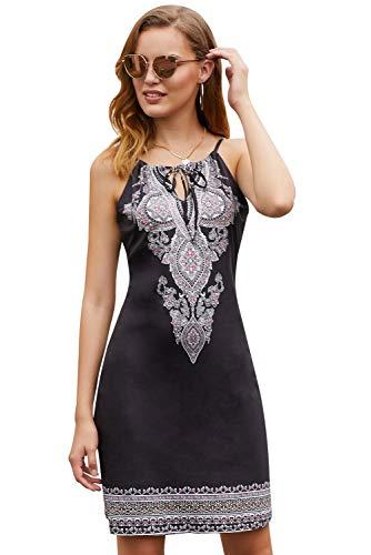 Sidefeel Women Casual Print Sleeveless Halter High Neck Boho Dress Large Black