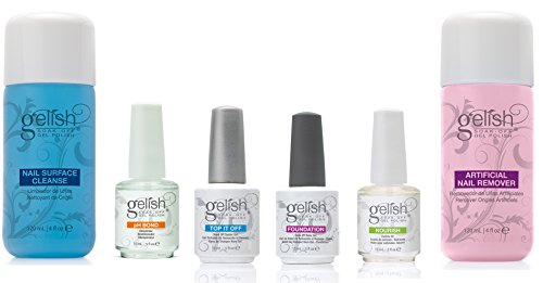 Gelish Full Size Gel Nail Polish Basix Care Kit (15ml) + Remover & Cleanser