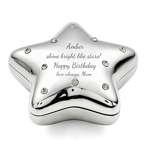 Engraved Silver-Plated Jeweled Make-A-Wish Star Trinket Box, Personalized Keepsake Box for Girls/Boys on 1st Communion, Christening for The Star in Your Life ()