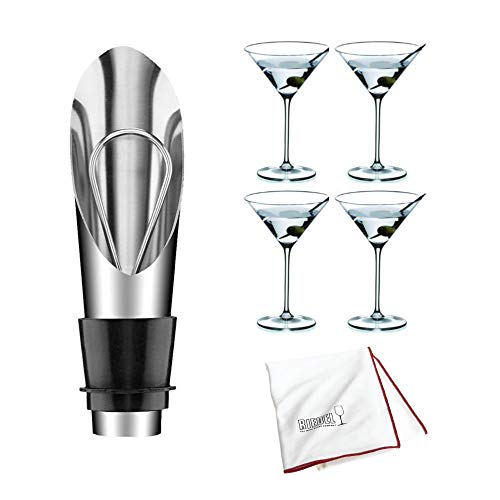 Riedel Vinum Martini Glass - Riedel Vinum XL Martini Glasses, Set of 4 Includes Wine Pourer with Stopper and Polishing Cloth Bundle